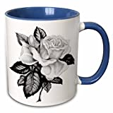 3dRose SmudgeArt Flower Art Designs - Rose BW - 11oz Two-Tone Blue Mug (mug_11793_6)