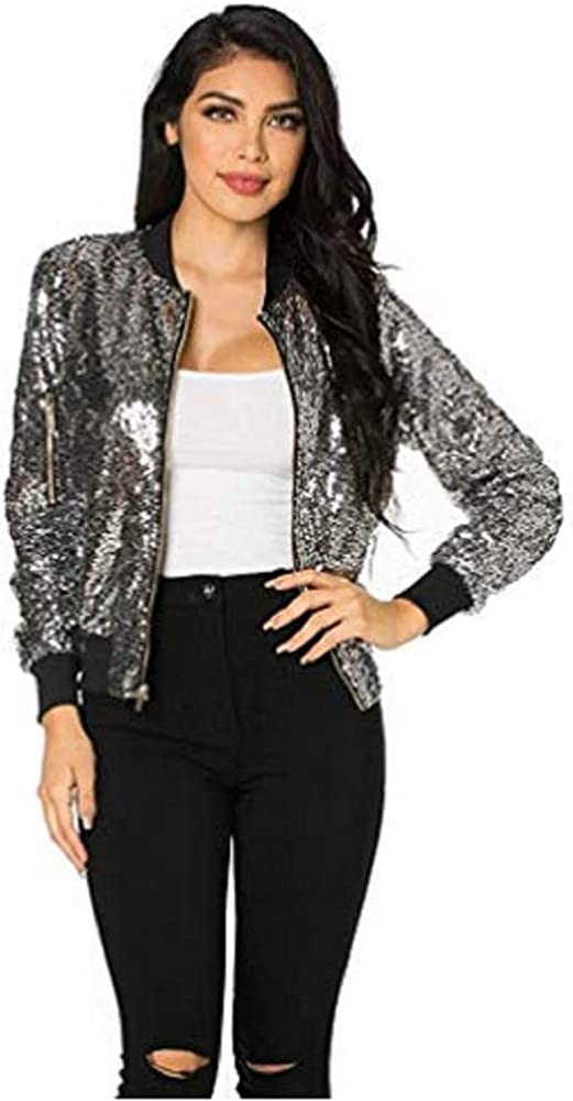 OgLuxe Womens Ladies Sequined Sparkly Bomber Party Bold Long Sleeve Jacket