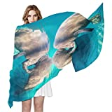 WDYSECRET Hippo Couples Silk Printing Scarves for Women 70.86x35.4(in)
