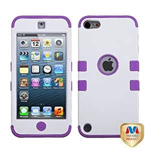 Snap on Cover Fits Apple iPod Touch 5 (5th Generation) Ivory White Electric Purple TUFF Hybrid (Please carefully check your device model to order the correct version.)