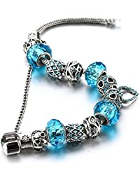 """Silver Tone Beaded Handmade Bracelet with Carved Plated Charms , Sparkly Murano Crystals Beads & Snake Chain with Extender 7.5""""+1.5"""" Includes Gift Package"""