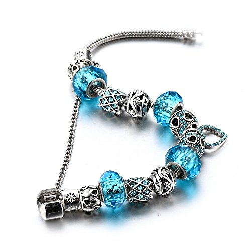 MYSTIQS Silver Tone Beaded Handmade Bracelet with Carved Plated Charms, Sparkly Murano Aqua Crystals Beads & Snake Chain with Extender 7.5