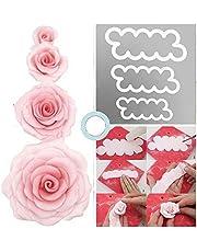 CHSYOO Set med 3 storlekar tårta rosor kakskärare, baktillbehör för gör-det-själv dekoration fondant tårta marsipan