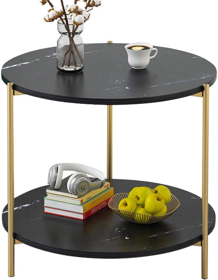 PAMBOO End Table Small Table Marble Pattern Wooden Double Sofa Side Table Coffee Table Suitable for Living Room Office (Round, Black)