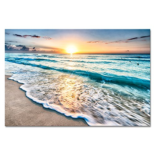Wieco Art Sea Waves Large Canvas Prints Wall Art Ocean Beach Pictures Paintings Ready to Hang for Living Room Bedroom Home Decorations Modern Stretched and Framed Seascape Giclee -