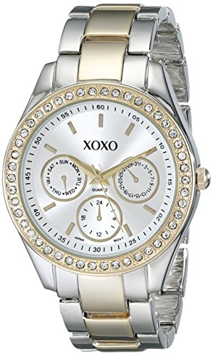 XOXO Womens XO5429  Rhinestone-Accented Two-Tone Bracelet Watch