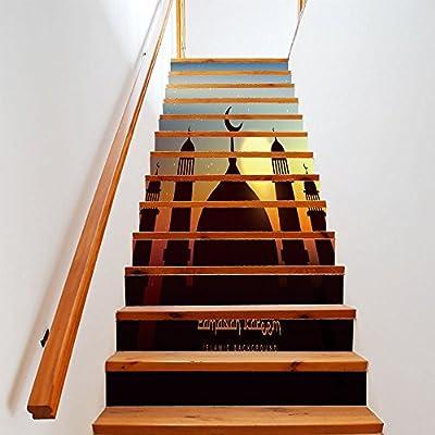 13 Piezas/Juego Nuevo Festival Musulmán Decoración Escaleras Escaleras Creativas Pegatinas De Pared 18CN*100CN: Amazon.es: Bricolaje y herramientas