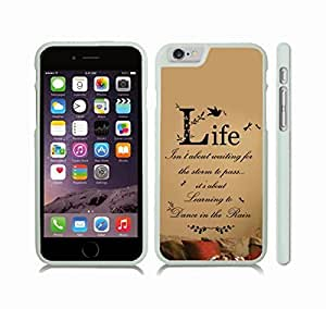"""iStar Cases? iPhone 6 Plus Case with """"Life isn't about waiting for the storm to pass..."""" Inspirational, Black Font on Tan, Birds, Dragonflies and Floral Patterns , Snap-on Cover, Hard Carrying Case (White)"""