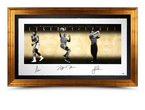 Michael Jordan Muhammad Ali Tiger Woods Autographed 49X25 Print Framed /500 UDA