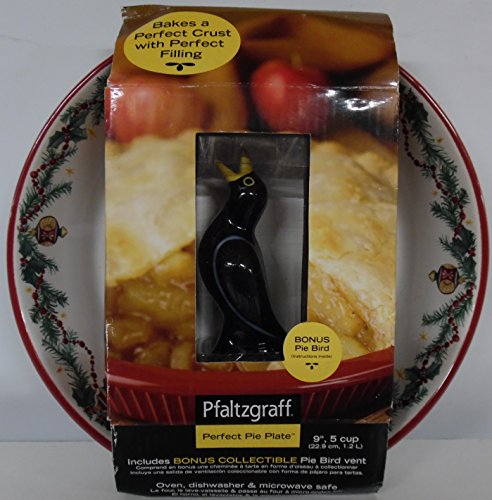 Pfaltzgraff Perfect Pie Plate Christmas Theme with ceramic whistling Black Pie Bird vent