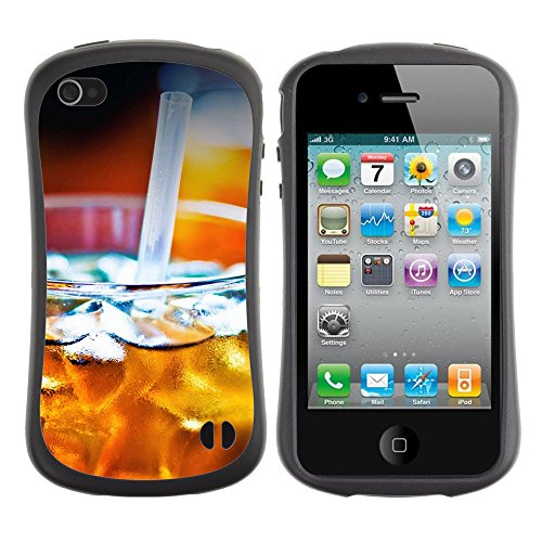 Pulsar iFace Series Soft TPU Skin Bumper Case Cover for Apple Iphone 4 / 4S , Refreshing Ice (Pattern Iced Tea)