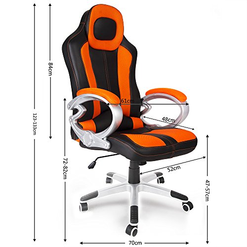 Good Chaise De Bureau Sport Fauteuil Pc Ordinateur Gaming Similicuir Ajustable