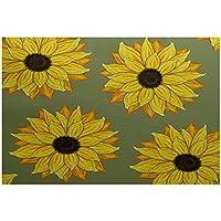E By Design RFN343GR19-35 Sunflower Power Flower Print Rug, 3 x 5, Green