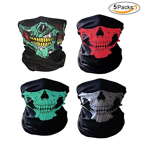 5 PCS Skull Face Mask Bandana Skeleton Syles Headwear Scarf Wrap for Dust Music Festivals Raves Riding Outdoors