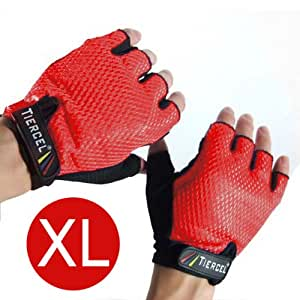 RED - Weightlifting gloves womens EXTRA LARGE. Sport gloves for weight lifters. Gym fitness gloves size X-Large. Exercise gloves for women with palm weight grip padding. Fingerless gloves for women