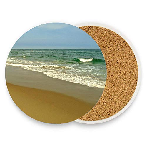 Koperororo Sea Breeze Ceramic Coaster Absorbent Coaster with Protective Cork Base Coaster for Drinks Coffee Mug Glass Cup Place Mats Pack Of 1 ()