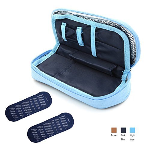 Blue Insulation (TAWA Insulin Cooler Bag with 2 Ice Pack and Insulation Liner for 24 hours (Dark Blue))