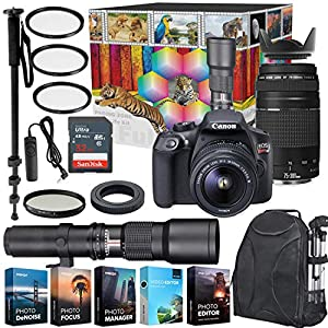 51c%2B%2BOWkzLL. SS300  - Canon EOS Rebel T6 DSLR Camera with 18-55mm & 75-300mm Lenses Kit + 500mm Preset Wildlife Lens - Deluxe Professional Photo & Video Creative Bundle
