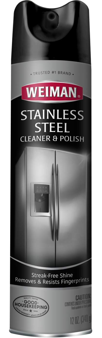 Weiman 02 Stainless Steel Cleaner & Polish Aerosol-12 Ounce-Non Toxic Cleaner for Refrigerators, Dishwashers, Ovens, Grills and More, 12 fl. oz, Clear, 12 Ounce by Weiman