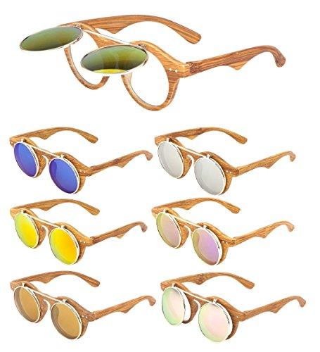 Faux wood frame iridium mirror lenses flip up sunglasses 1 100% uv protection wood & metal frame one size fits most