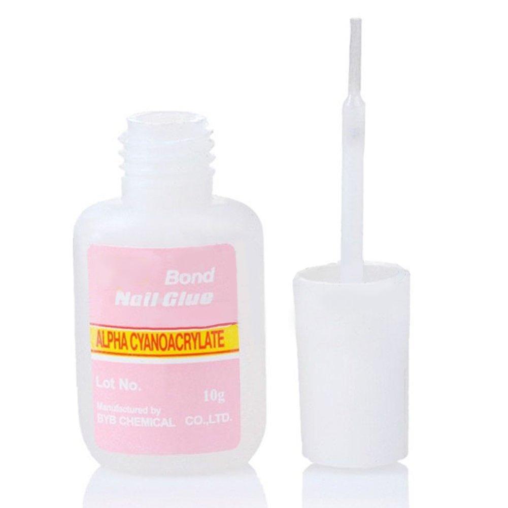 1 pegamento adhesivo con pincel, uñas postizas, accesorios para uñas artificiales y diamantes de imitación, 5 unidades: Amazon.es: Belleza