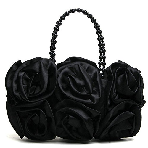 Black Bag Bumud Satin Evening Bride Flower Prom Purse Party Clutch Women's Handbag TfUxfnA7O