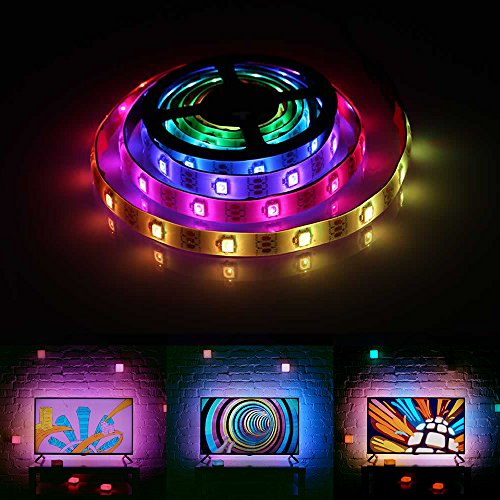 imenou Chasing Effect Led Strip Lights, SMD 2812 Waterproof 5V RGB Neon Dreaming Rainbow Color Flexible Rope Light Strip TV Backlight w/Controller USB Battery Powered Box (6.5ft/2M)