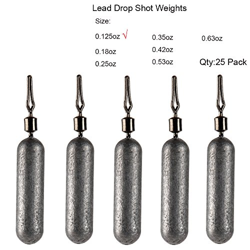Pack of 25 Skinny Finesse Lead Drop Shot Fishing Weights Sinkers Hand Poured for Bass Trout Crappie Catfish By Mythik Lures - Size: 3.5g 7g 11g 15g 18g (Natural -- 0.125 ounce - 3.5 gram)