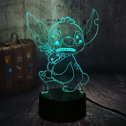 New Design Cartoon Cute Stitch Holding a Doll 3D LED Night Light 7 Color Change Desk Lamp Kid Christmas Gift Home Decor Holiday(Stitch Hold Toy)