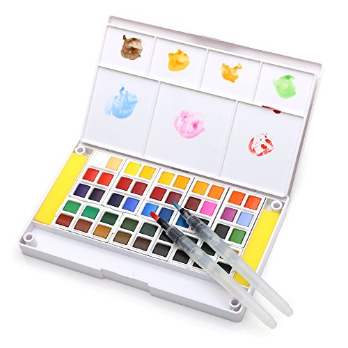 Dainayw Watercolor Paint Set, Professional 48 Assorted Watercolors, Perfect Watercolor Pan Set, Travel Watercolor Kit Includes 2 Water Brushes, 2 Sponges & A Mixing Palette ()