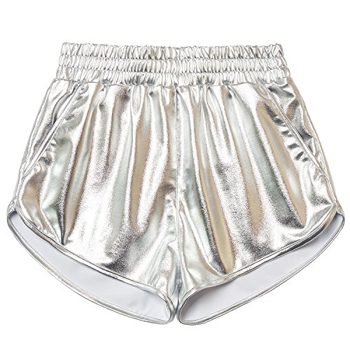 Girls Metallic Shorts Silver Hot Pants Shiny Sparkly Gymnastics Outfits 10 11 ()