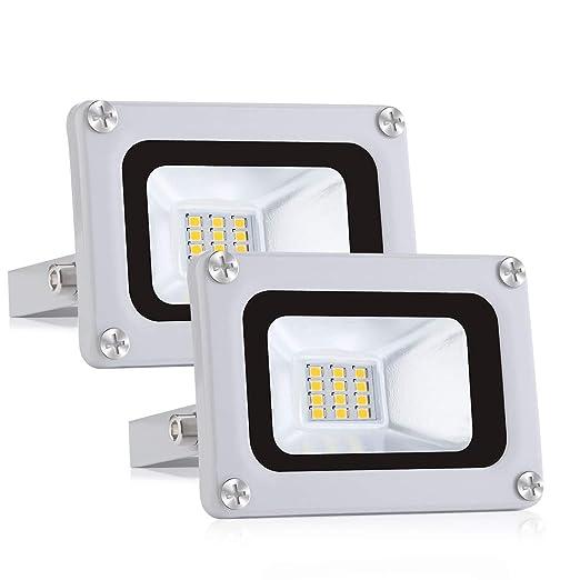 2x 10W Focos LED Exterior Floodlight 1000LM 6500K Blanco Frío IP65 ...