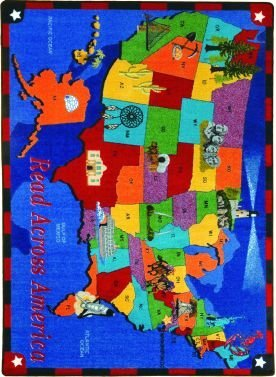 Joy Carpets Kid Essentials Geography & Environment Read Across America Rug, Multicolored, 10'9'' x 13'2'' by Joy Carpets