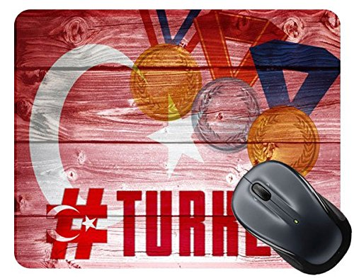 BleuReign(TM) Sport Games Hashtag Team Turkey #Turkey Square Mouse (Team Turkey)