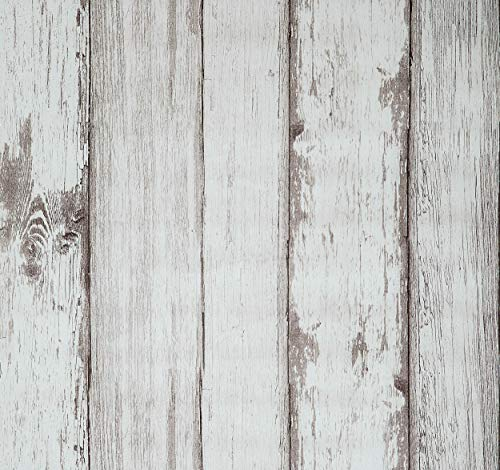 Wood Wallpaper, 20.8x222 inch Self Adhesive Wall Paper Peel and Stick Vinyl Film Roll Shiplap Wall Covering for Kitchen Wall Cabinet Furniture Shelf Liner Drawer Desk Table Cupboard (Beige Faux Stripe Wallpaper)
