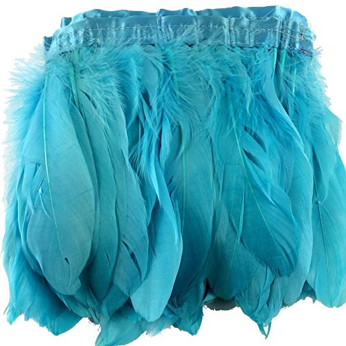 KOLIGHT 2 Yards Natural Dyed Goose Feathers 6~8 inches(15~20cm) Trim Fringe for DIY Dress Sewing Crafts Costumes Decoration (Sky-Blue)