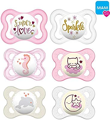 Mam Day & Night silicona Chupete 0 – 6 niña//Juego De 6//Incluye 3 ...