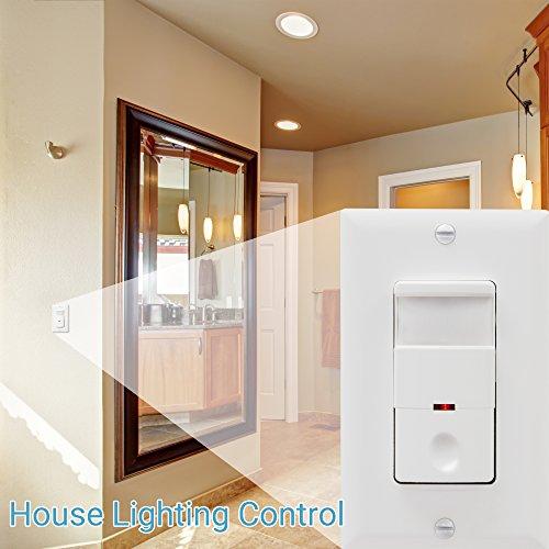 TOPGREENER TDOS5-White Motion Sensor Light Switch, PIR Sensor Switch, Occupancy Sensor Light Switch, Motion Sensor Wall Switch, 500W 1/8HP, Neutral Wire Required, Single Pole, White by TOPGREENER (Image #4)