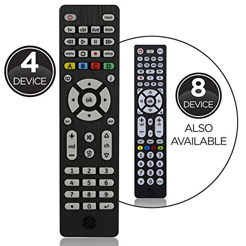 GE Universal Remote Control for Samsung, Vizio, LG, Sony, Sharp, Roku, Apple TV, RCA, Panasonic, Smart TVs, Streaming Players, Blu-ray, DVD, Simple Setup, 4-Device, Black, 34457