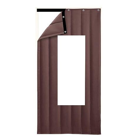 GUOWEI-Door Cortina Aislante térmico Resistente al Viento Transparente Ventana Entrada Personalizable, 3 Colores