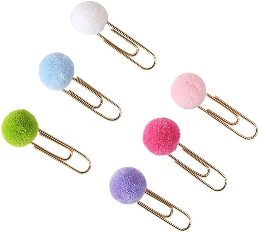 Loghot 40Pcs Pompoms Metal Planner Paper Clips for Photos Books Notebook Cards Stationery Decor (Multicolour)