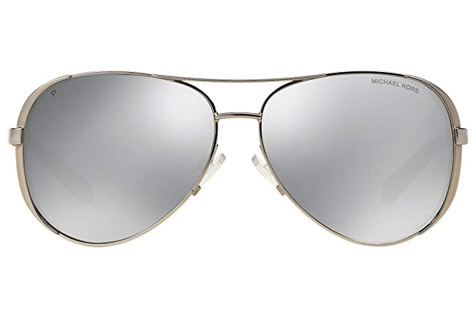 6b522891db Image Unavailable. Image not available for. Colour  Michael Kors MK5004  Chelsea Polarized Sunglasses Silver w Silver Mirror