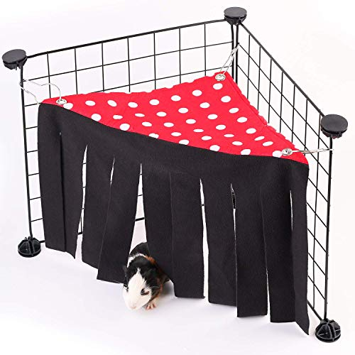 CROWNY Guinea Pig Hideout, Corner Fleece Forest Hideaway for Guinea Pigs, Ferrets, Chinchillas, Rats, Bunny & Other Small Animals Without Metal Fences (Red)