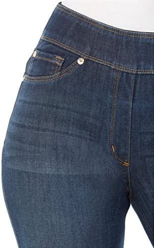 """51c%2B2CcjgkL. AC LUXE DENIM SLIMS Slim Straight Leg Jeans    Slim, straight cut jeans in a pull-on style, with a concealed 4"""" midsection minimizer, 2"""" visible waistband, faux front pocket details and functional back pockets for the look of denim in a streamlined fit. Luxe Denim Slims offer ultimate comfort and compression in a luxurious look and feel: our exclusive Denim 360 fabric has 4-way stretch and 24/7 recovery, giving you a perfect fit every time."""