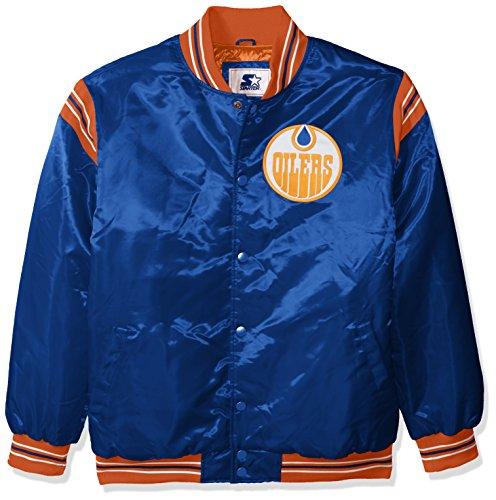 STARTER NHL Edmonton Oilers Men's The Enforcer Retro Satin Jacket, XX-Large, Blue