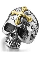 Men's Stainless Steel Ring Silver Tone Black Gold Tone Skull Cross Bible Lords Prayer