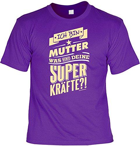 T-Shirt - Ich bin Mutter - Was sind deine Superkräfte Lila - lustiges Sprüche Shirt für Mütter mit Humor - Geschenk Set zum Muttertag