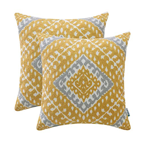 HWY 50 Cotton Embroidered Decorative Throw Pillows Covers Sets Cushion Case for Couch Sofa Bed Living Room 18 x 18 inches Yellow Modern Chic Geometric Decor, Pack of 2 ()