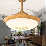 ZPSPZ Ceiling fan Invisible Ceiling Fan, Dining Room, Living Room, Electric Fan, Modern Led Fan Lamp