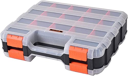HDX 320028 34-Compartment Double Sided Organizer with Impact Resistant Polymer and Customizable Removable Plastic Dividers,Black Orange